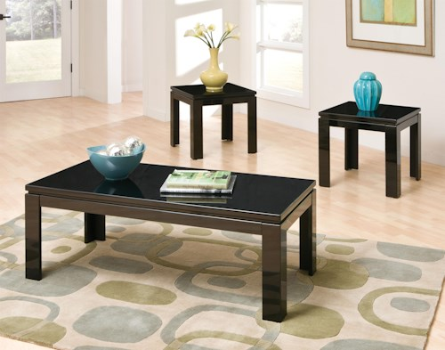 Standard Furniture Passport Glossy 3-Pack Occasional Tables with Raise Floating Tops