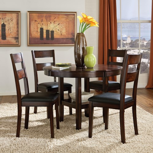 Standard Furniture Pendwood 5 Piece Round Table & Dining Side Chairs Set