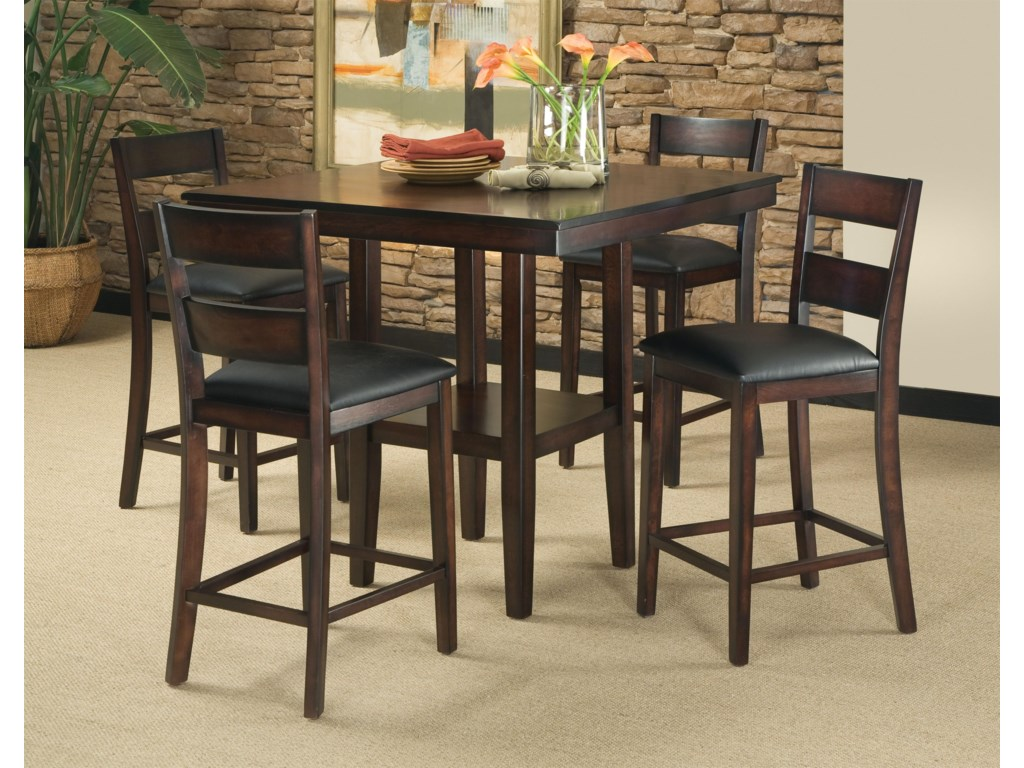 Standard Furniture Pendwood 5 Piece Contemporary Counter Height Table And Stool Set