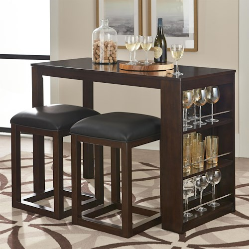 Standard Furniture PORTER 3 Piece Pub Table And Stool Set With Storage