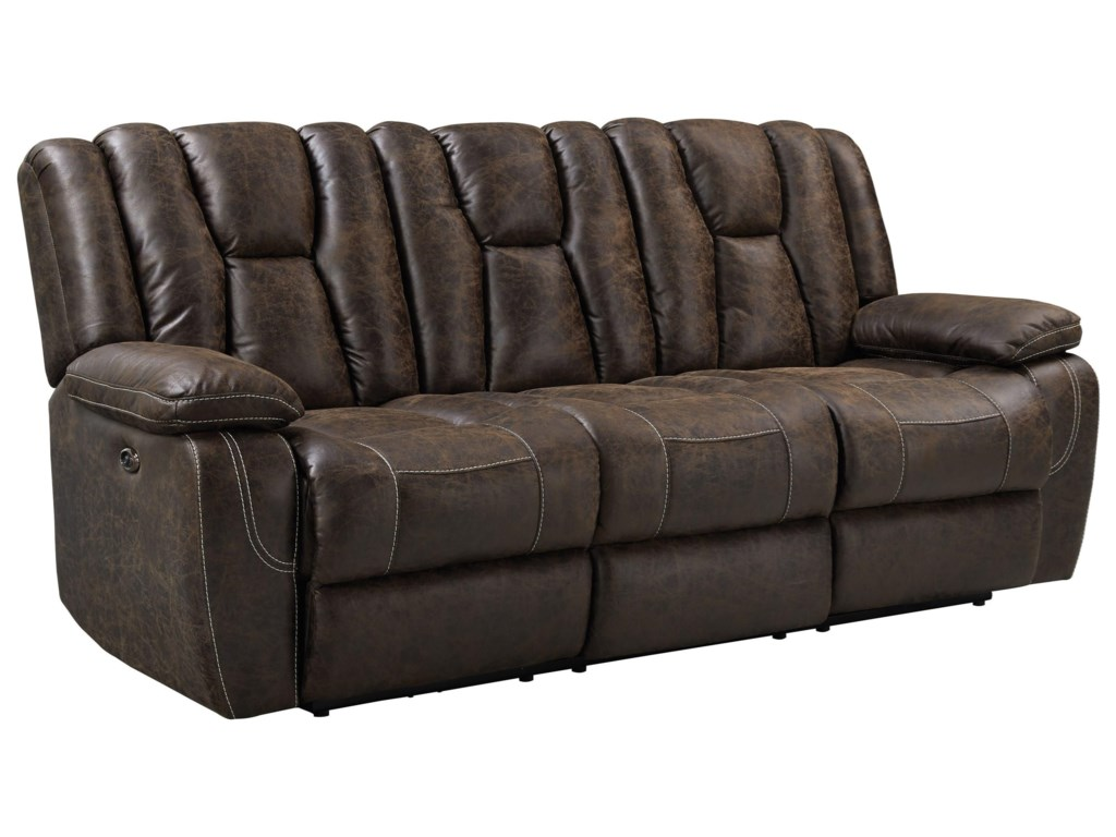 Rainier Reclining Sofa With Deep Channeled Design By Standard Furniture