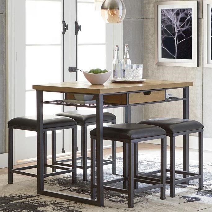 Ridgewood Industrial Counter Height 5 Piece Dining Set By Standard Furniture