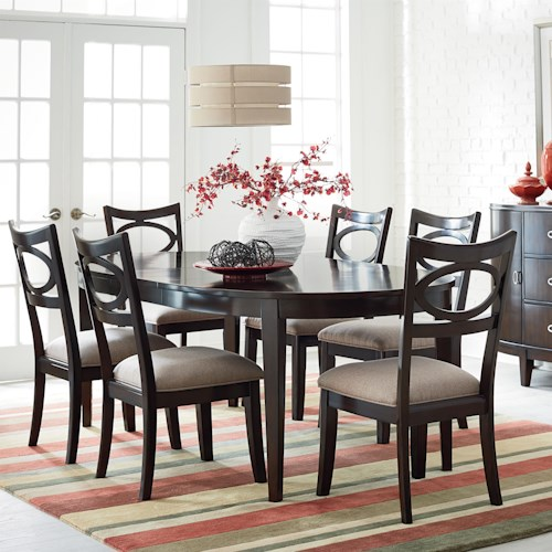 Standard Furniture Serenity 7-Piece Oval Table and Upholstered Chair ...