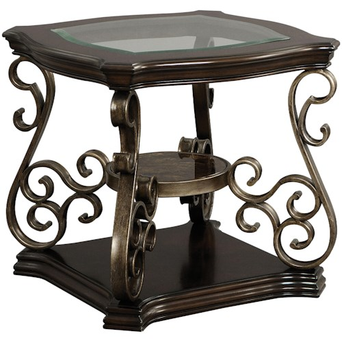 Standard Furniture Seville Square End Table with Glass Top
