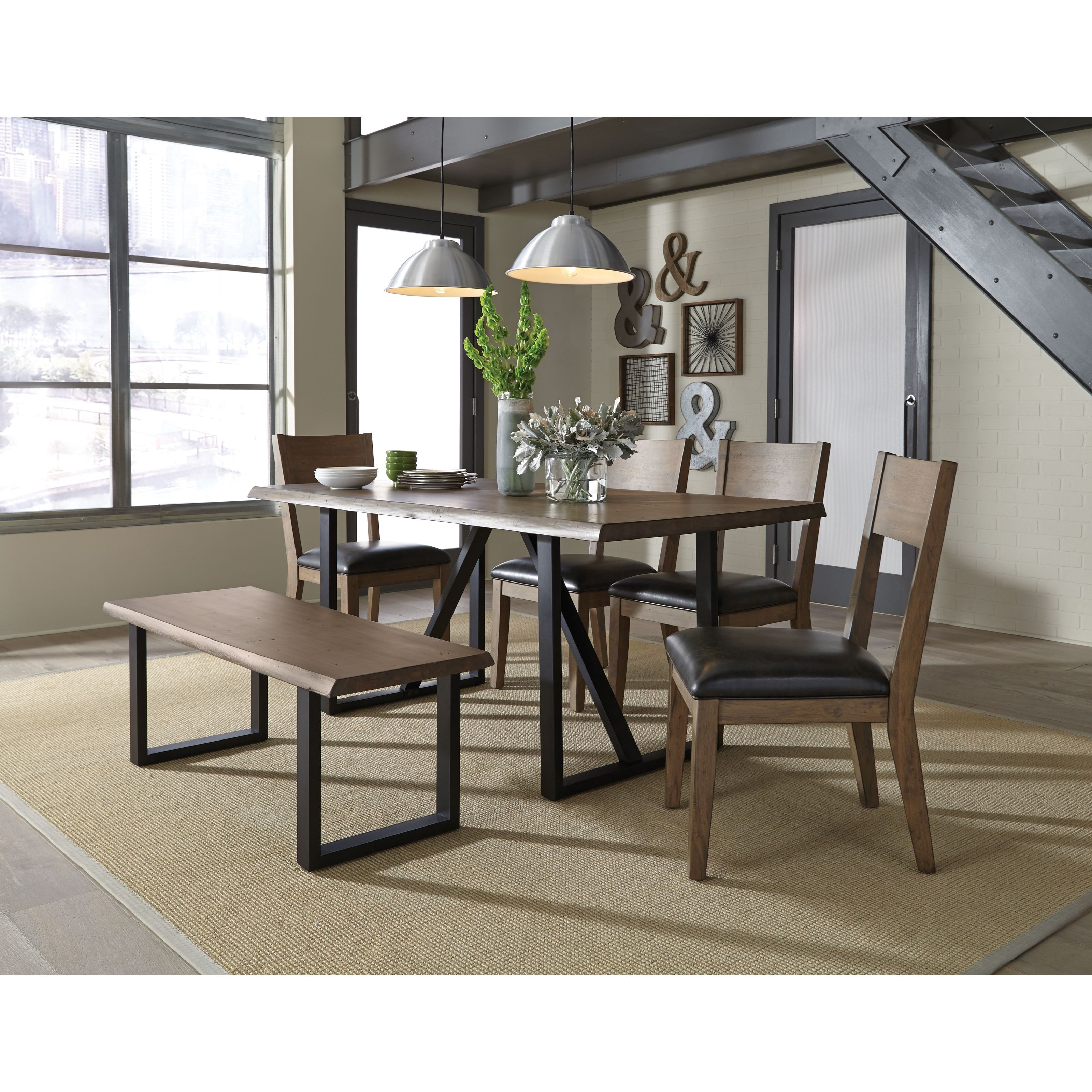 Standard Furniture Sierra Rustic Table Set With Dining Bench