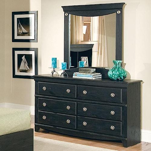 Standard Furniture Carlsbad 6 Drawer Dresser & Vertical Mirror