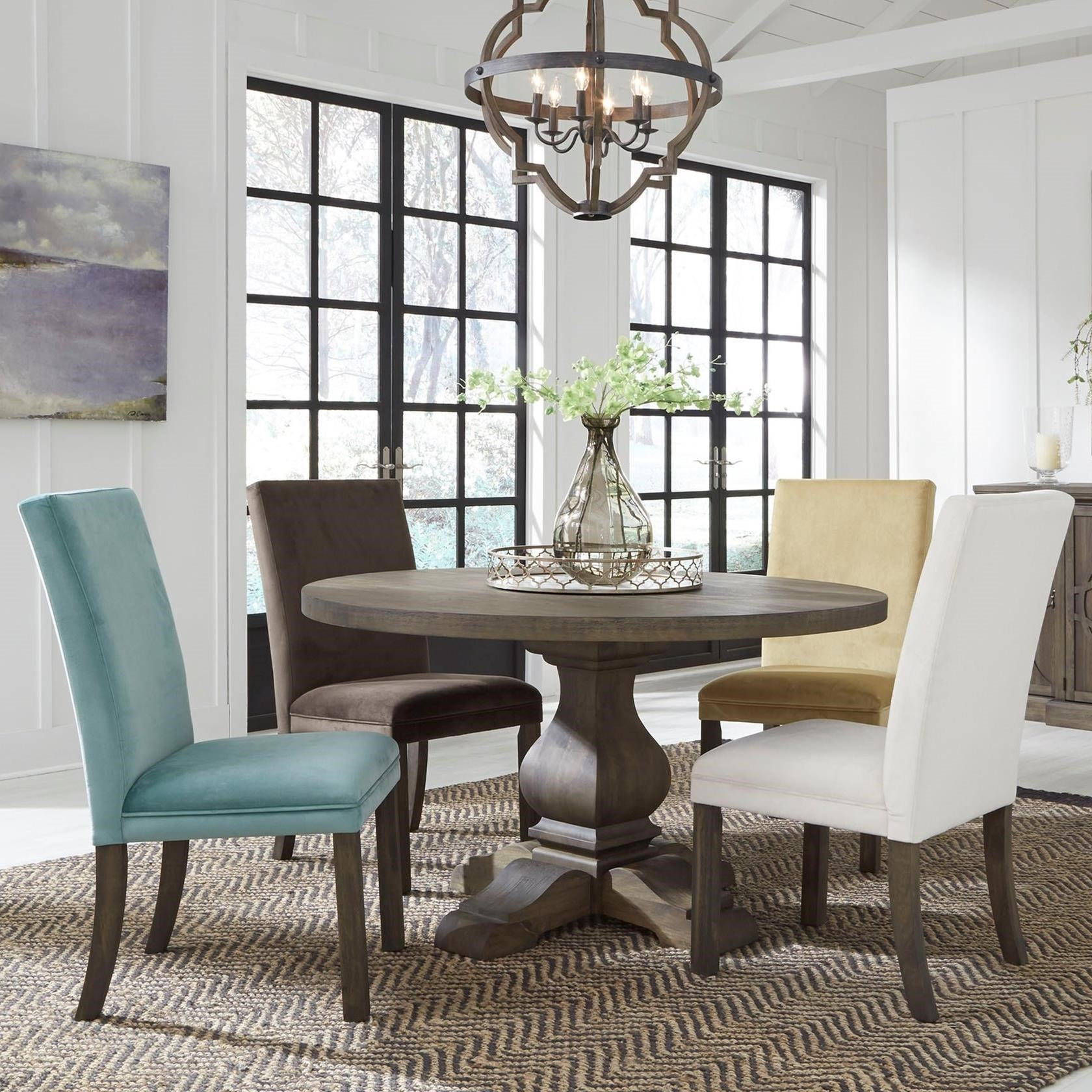 Bon Standard Furniture Trenton Casual Five Piece Dining Set With Round Table