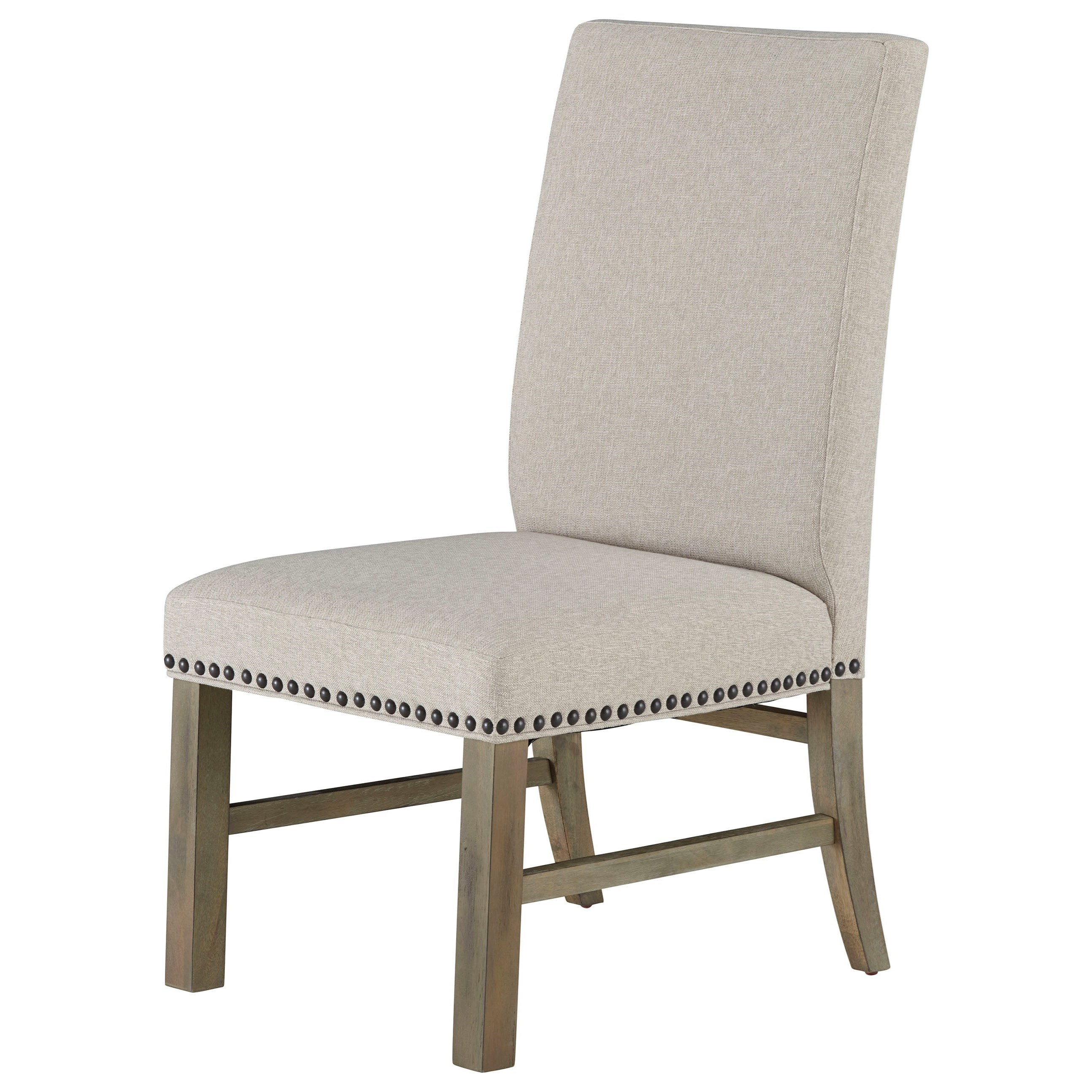 Attrayant Standard Furniture Trenton Set Of Two Upholstered Dining Side Chairs With  Nailheads   Linen Sand