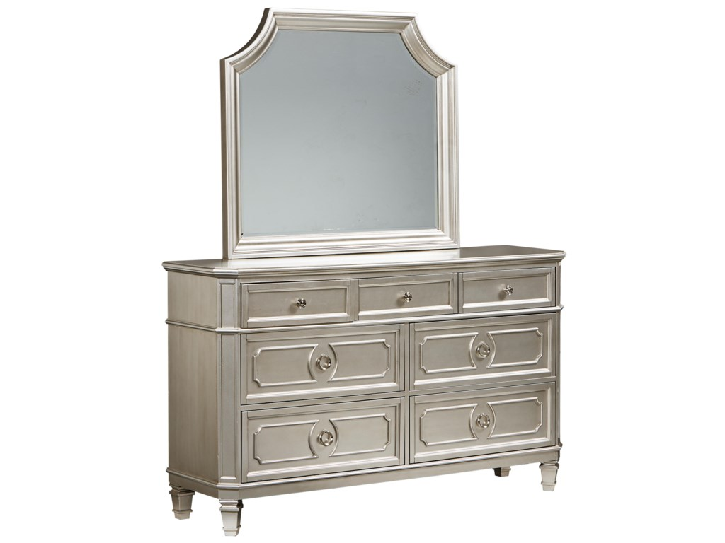 Standard furniture windsor silver traditional dresser mirror with square turned feet