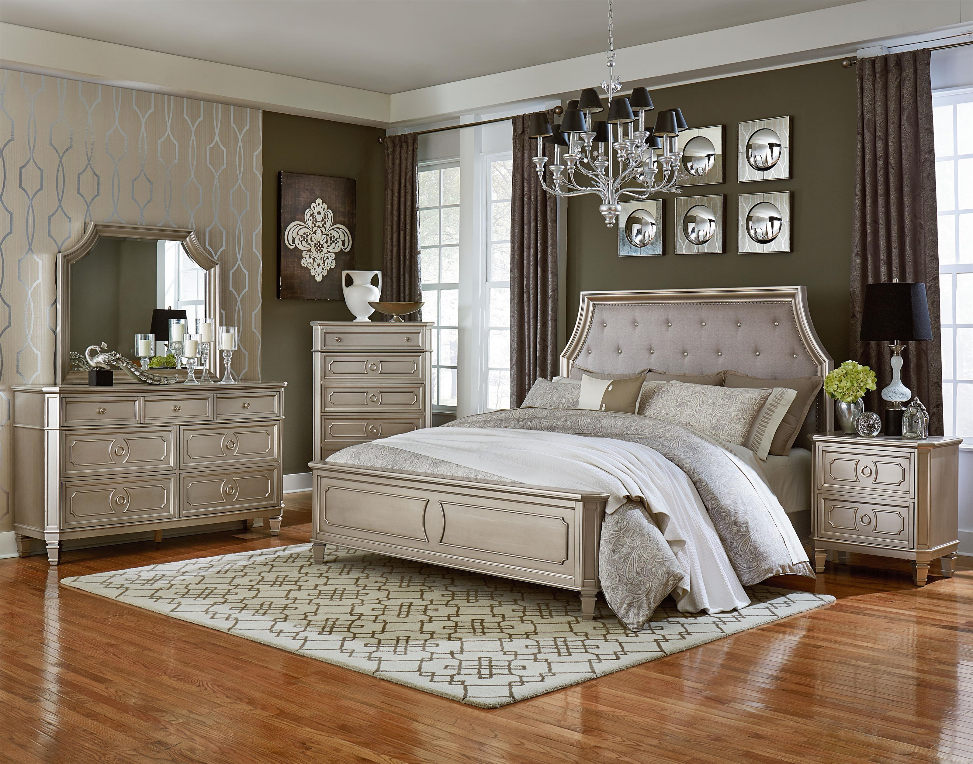 Standard Furniture Windsor Silver King Panel Bed, Dresser, Mirror U0026  Nightstand   Great American Home Store   Bedroom Groups