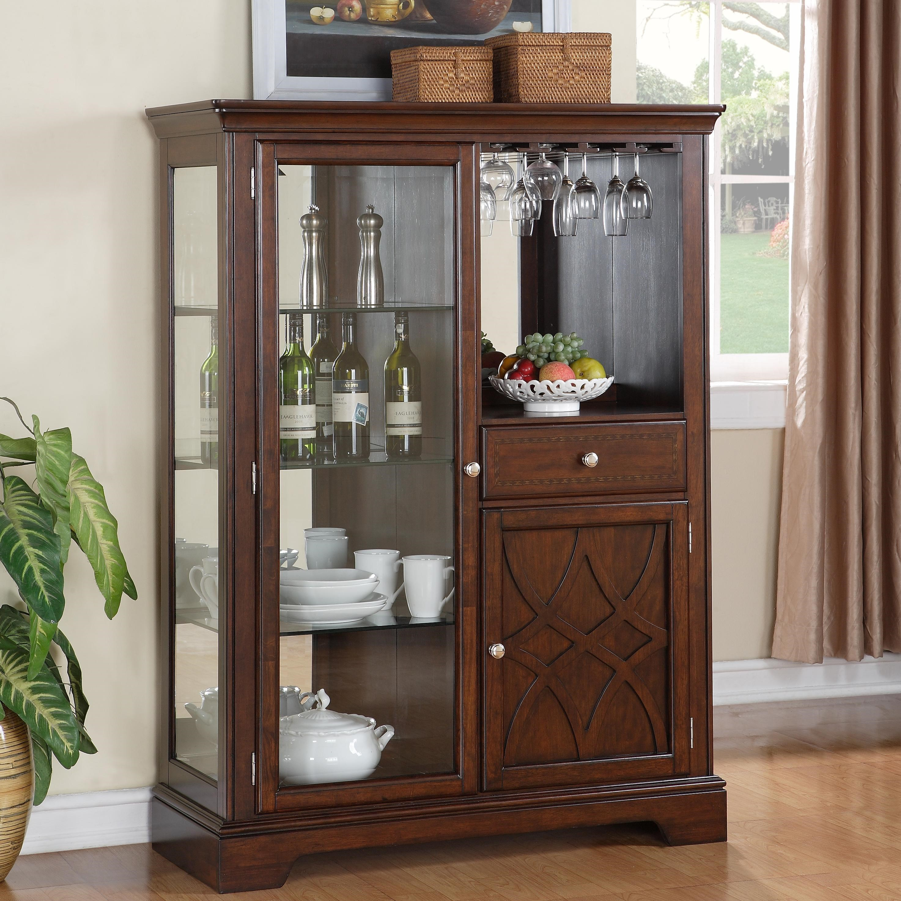 Tall Cabinet with Glass Door Furniture Corner display Glassware Photo Drawer