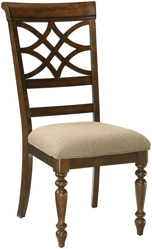 Standard Furniture Woodmont Upholstered Side Chair with Scroll Back & Turned Legs