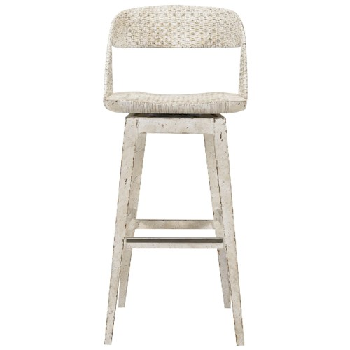 Stanley Furniture Archipelago Tambu Bar Stool with Woven Back and Swivel Seat