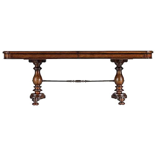 Stanley Furniture Arrondissement Famille Pedestal Table with Metal Stretcher & Leaf