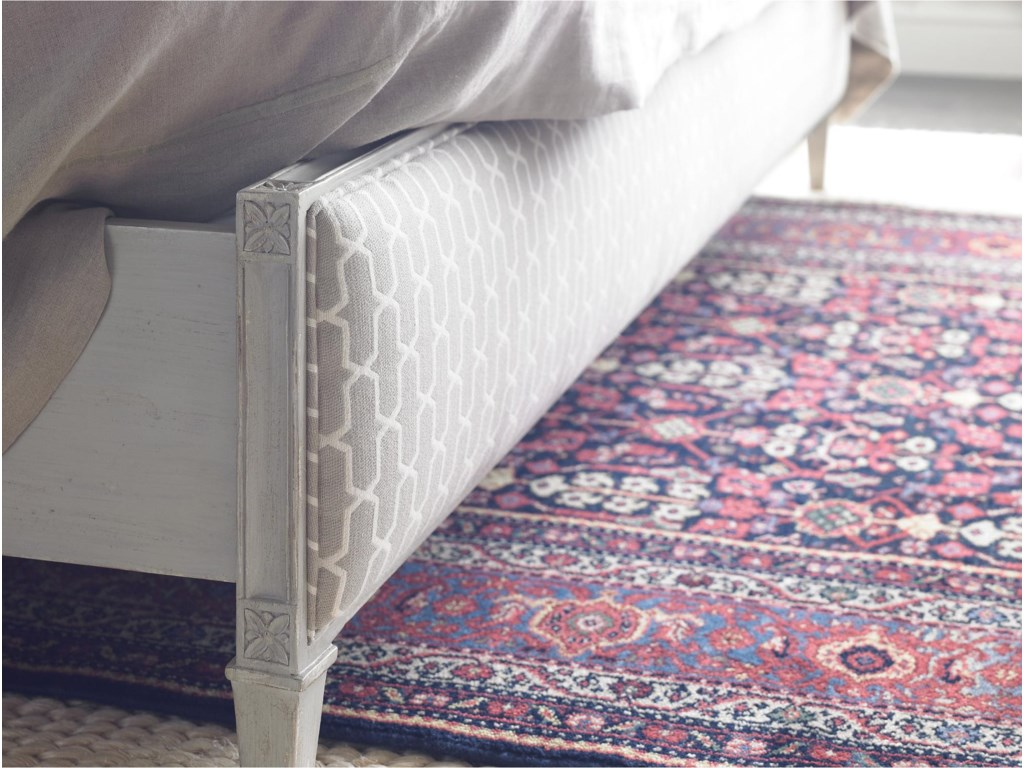 Upholstered Footboard in Braided Trellis Fabric