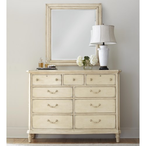 Stanley Furniture European Cottage Nine Drawer Dressing Chest and Mirror Combination