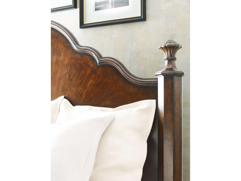The Mansion Bed's inlaid headboard is a graceful accompaniment to its curved design.