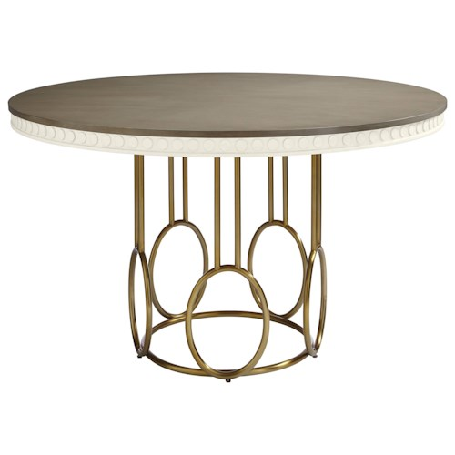 Stanley Furniture Coastal Living Oasis Venice Beach Round Dining Table with Brass Finish Metal Base