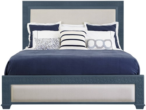 Stanley Furniture Coastal Living Oasis King Catalina Panel Bed with Upholstery & Fretwork Border