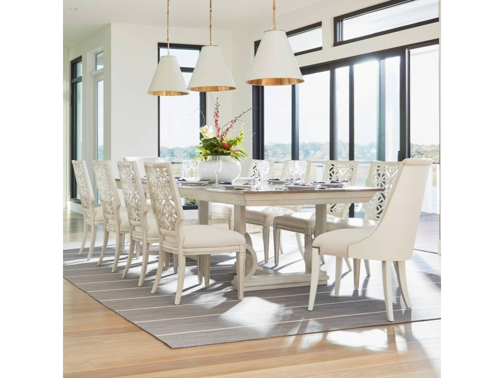 Stanley Furniture Coastal Living Oasis11 Piece Moonrise Pedestal Dining Table Set