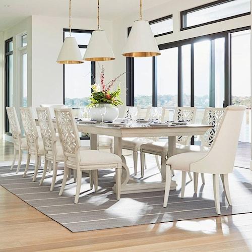 Stanley Furniture Coastal Living Oasis 11 Piece Moonrise Pedestal Dining Table Set