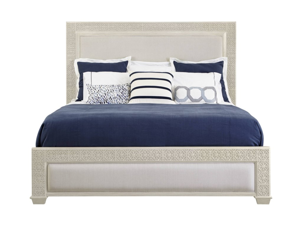 Coastal Living Oasis Queen Catalina Panel Bed with Upholstery & Fretwork  Border by Stanley Furniture at Baer\'s Furniture
