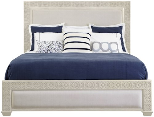 Stanley Furniture Coastal Living Oasis California King Catalina Panel Bed with Upholstery & Fretwork Border