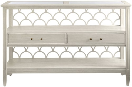 Stanley Furniture Coastal Living Oasis Sea Cloud Console Table with Inset Glass Panel Table Top