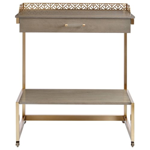 Stanley Furniture Coastal Living Oasis Catalina Bar Cart with Brass Accents & Casters