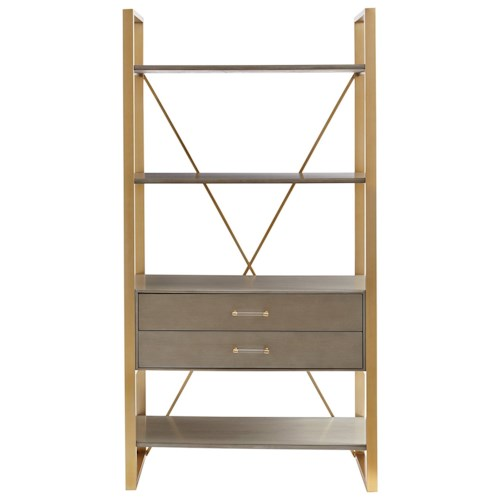 Stanley Furniture Coastal Living Oasis Harwell Bookcase with Brass Finish Metal Frame