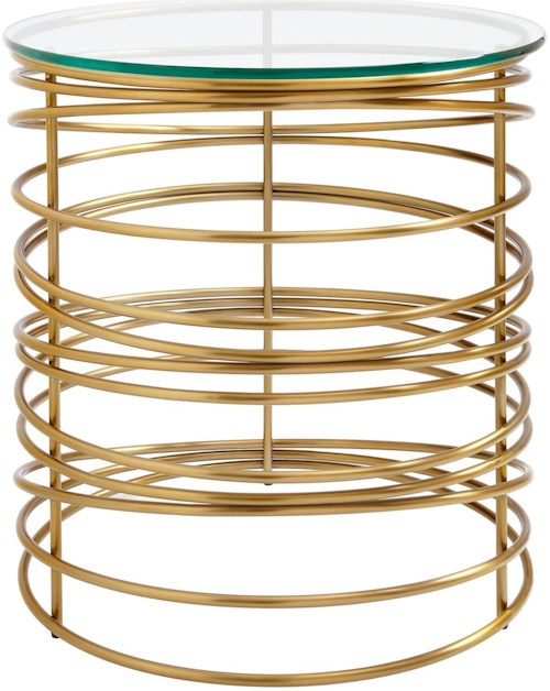 Stanley Furniture Coastal Living Oasis Zuma Round Lamp Table with Brass Finish Metal Base and Glass Top
