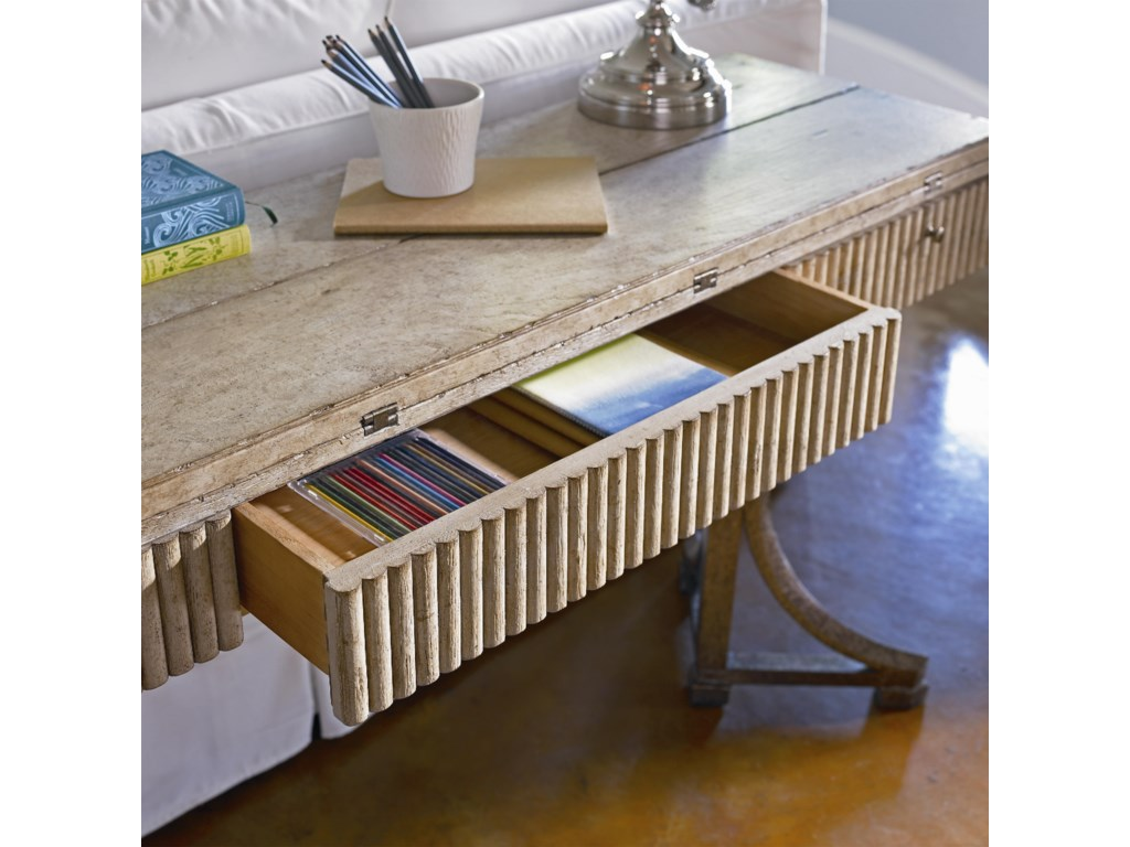 Convenient and Spacious Table Drawer Featuring a Split-Bamboo Inspired Case