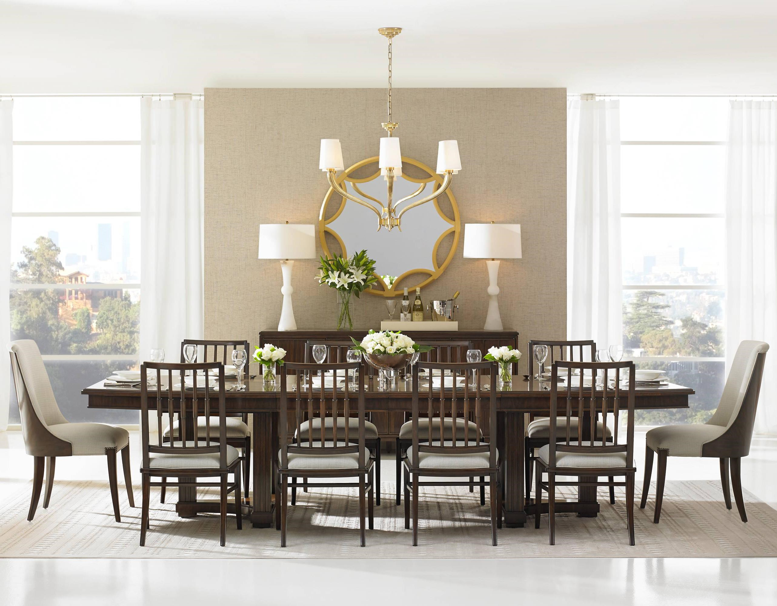 Stanley Furniture Crestaire11 Piece Lola Double Pedestal Table Set ...