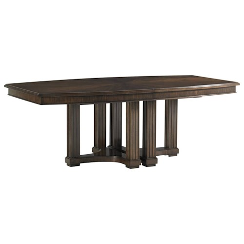 Stanley Furniture Crestaire Lola Double Pedestal Table with Boat Shape Table Top & Walnut Veneer