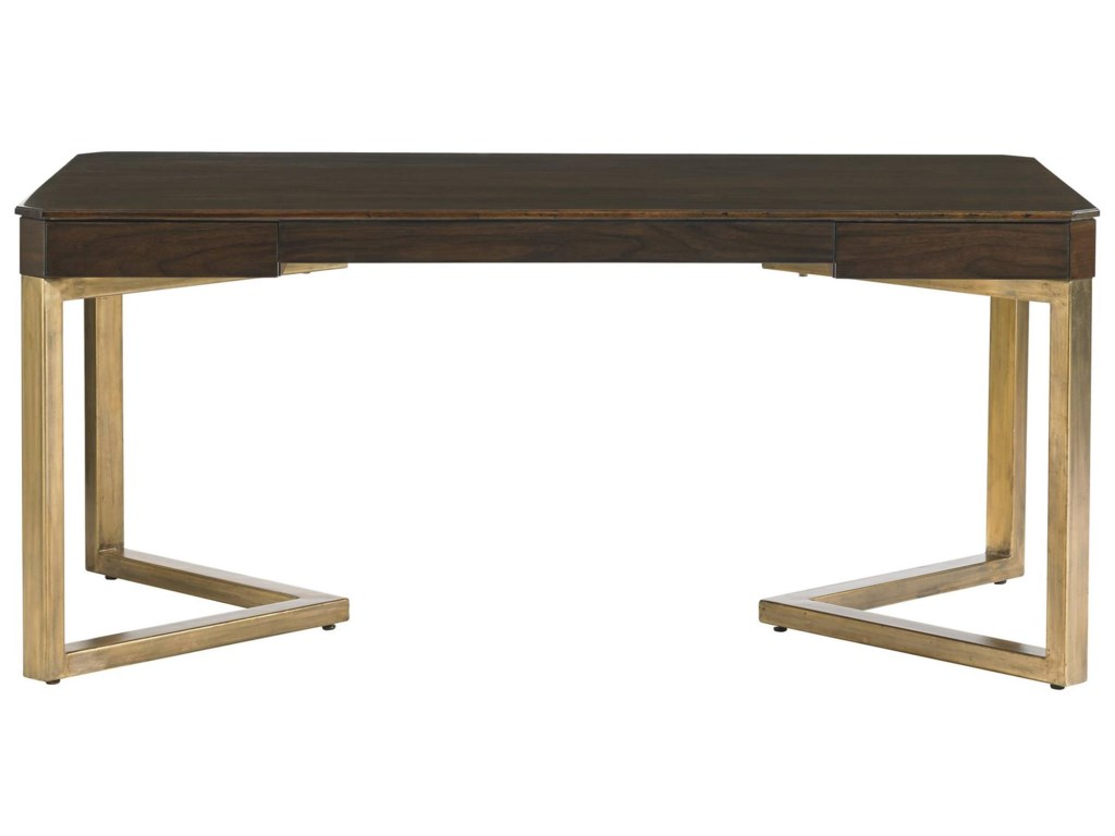 Stanley Furniture Crestaire Mid Century Modern Vincennes Writing Desk With Angled Gold Leaf Finish Legs