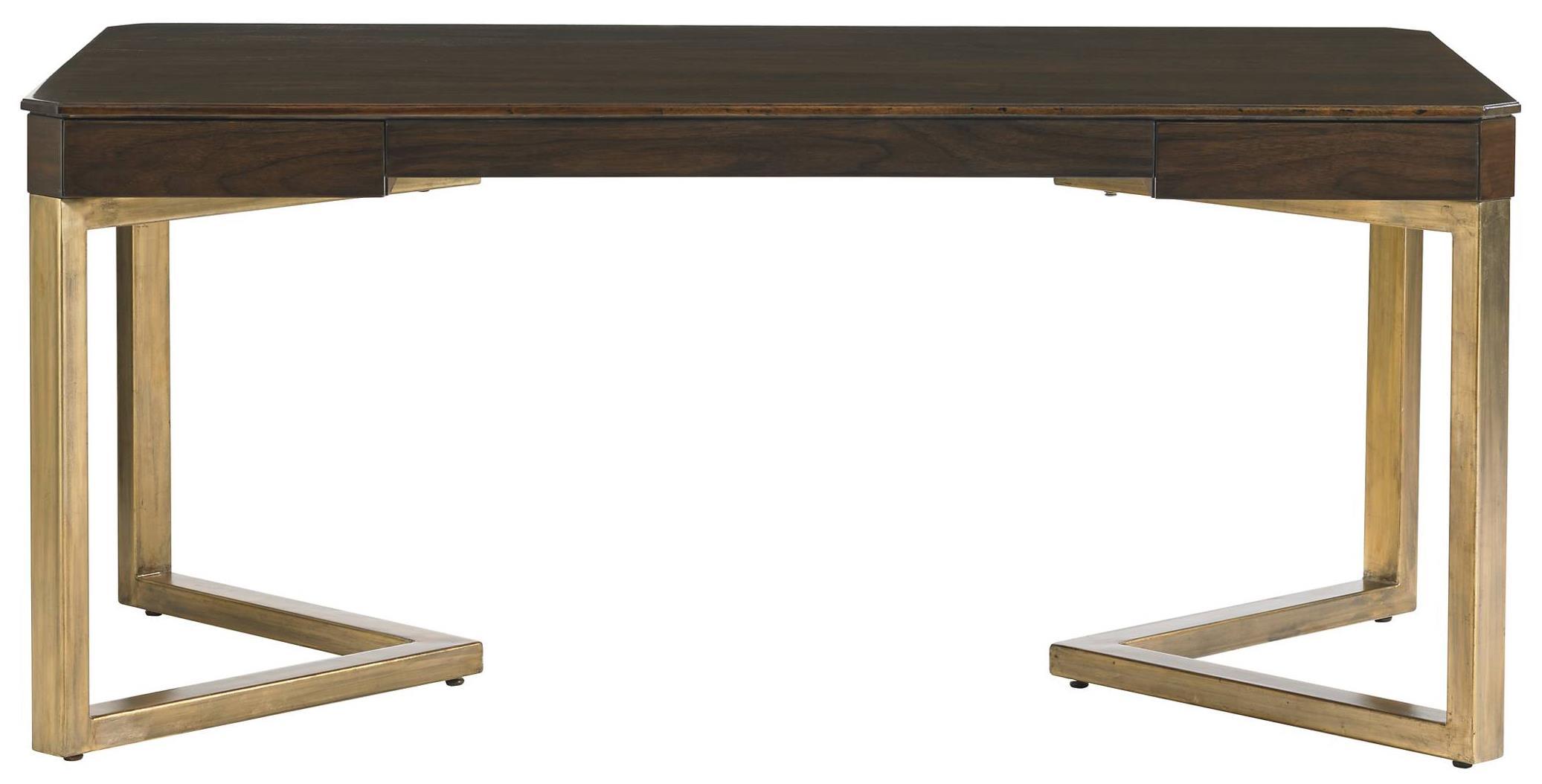 Stanley Furniture Crestaire Mid Century Modern Vincennes Writing Desk With  Angled Gold Leaf Finish Legs   Baeru0027s Furniture   Table Desks/Writing Desks