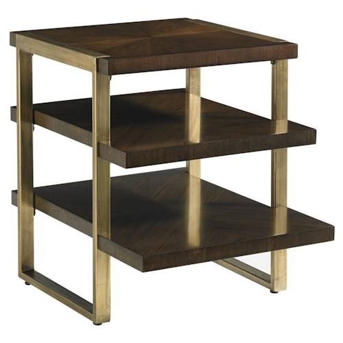 Stanley Furniture Crestaire Mid-Century Modern Autry End Table with Gold Leaf & Walnut Veneer