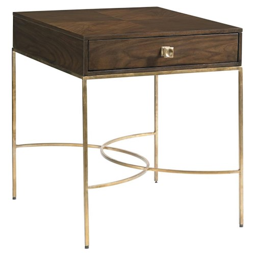 Stanley Furniture Crestaire Oscar End Table with Gold Leaf Metal Legs
