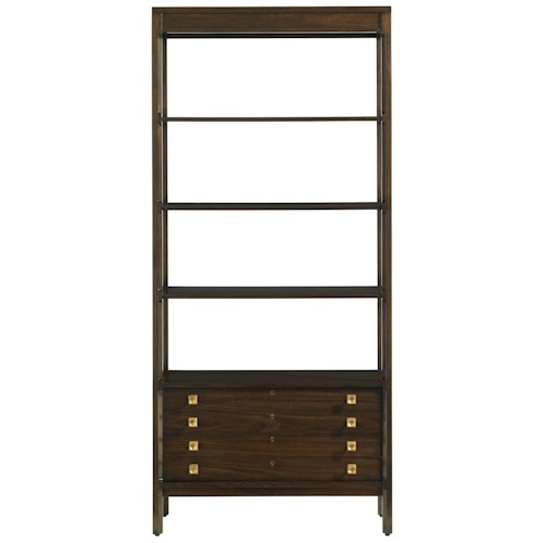 Stanley Furniture Crestaire Mid-Century Modern Welton Bookcase with 2 Drawers & 4 Fixed Shelves