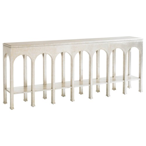 Stanley Furniture Crestaire Brooks Console Table with Shelf & Arched Table Apron