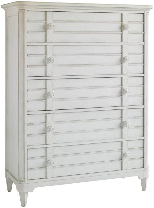 Stanley Furniture Cypress Grove  Cottage Style 5 Drawer Chest with Louvered Drawer Fronts