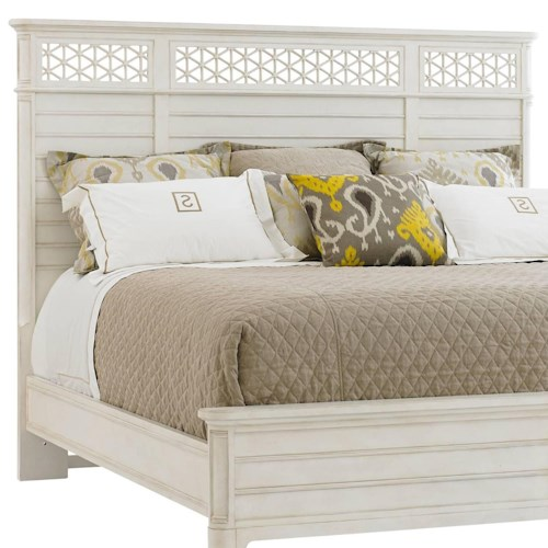 Stanley Furniture Cypress Grove  Cottage Style Queen Wood Panel Headboard with Honeycomb Motif