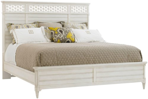 Stanley Furniture Cypress Grove  Cottage Style King Wood Panel Bed with Honeycomb Motif