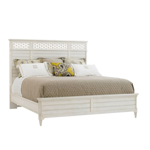 Stanley Furniture Cypress Grove  Cottage Style California King Wood Panel Bed with Honeycomb Motif