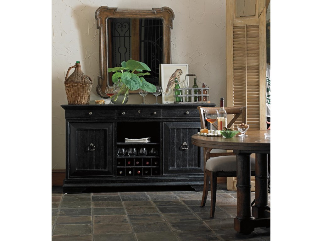 Shown with Sunday Supper Table and Captain's Fluted Edge Mirror, and Faraway Welcome Serviceboard in Chalkboard Finish
