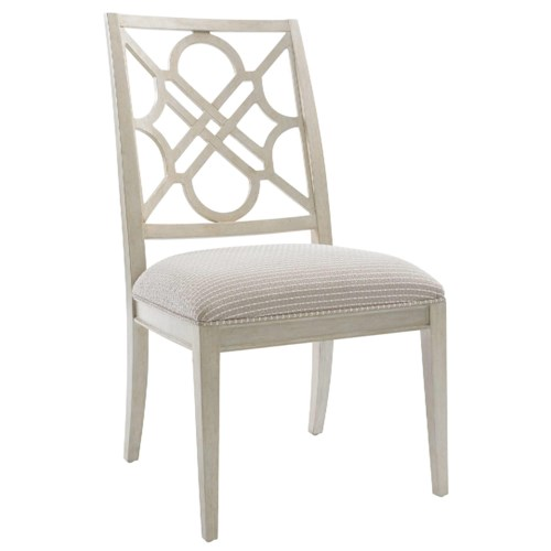 Stanley Furniture Fairlane Wood Side Chair with Lattice Back & Upholstered Slip Seat