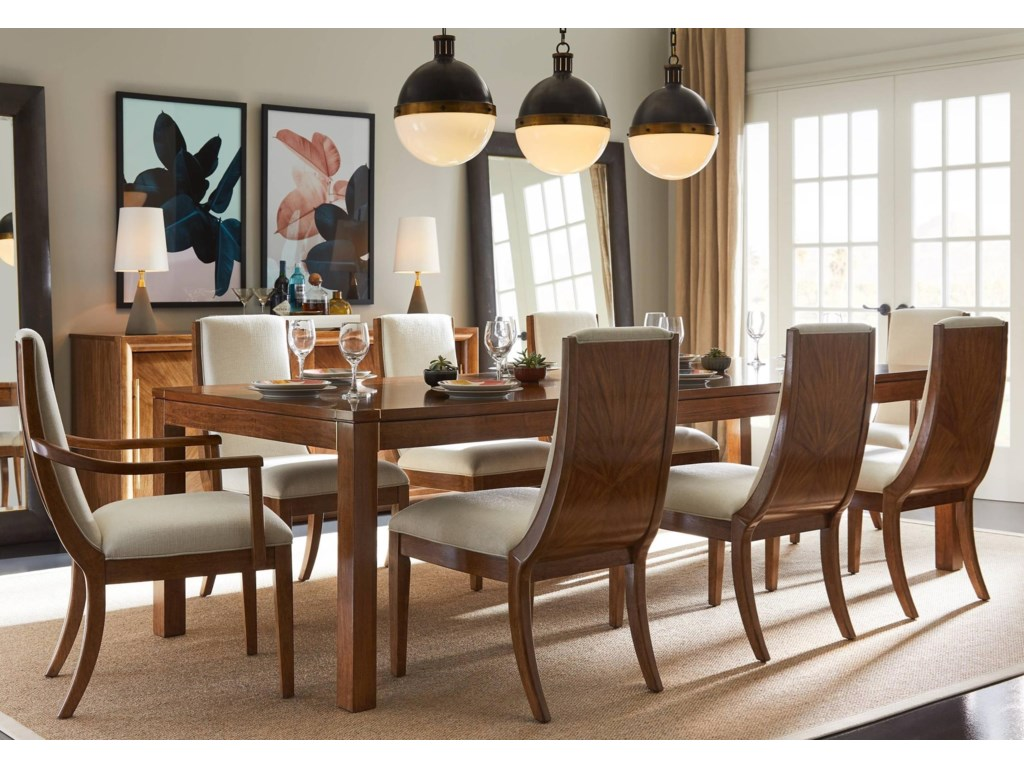 Stanley furniture panavista9 piece archetype dining table set