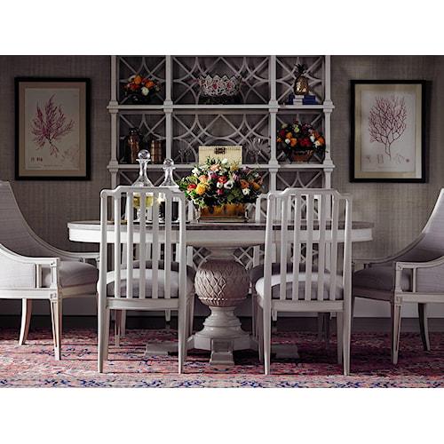 Stanley Furniture Preserve 7-Piece Artichoke Pedestal Table Set
