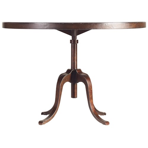 Stanley Furniture The Classic Portfolio Artisan Adjustable Height Table with Round Table Top & Industrial Metal Base