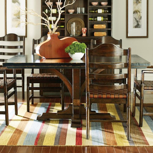 Stanley Furniture The Classic Portfolio Artisan Two-Tone Pedestal Table with Distressed Wood